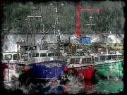 Boats In Harbor Digital Art Posters - Colorful Boats - Seascape - Steel Engraving Poster by Barbara Griffin