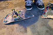 Boarder Posters - Colorful Busted Skateboard with Shoes  Poster by Kate Sumners