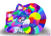 Feline Fantasy Posters - Colorful Calico Poster by Nick Gustafson