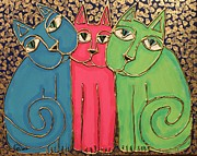 Cynthia Snyder Posters - Colorful Cat Trio Poster by Cynthia Snyder