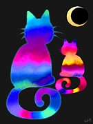 Nick Gustafson Prints - Colorful Cats and the Moon Print by Nick Gustafson