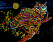 Owl Pyrography Metal Prints - Colorful Charactor Metal Print by Mike Holder