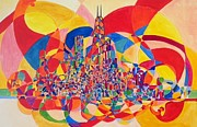 Chicago Landmark Paintings - Colorful Chicago skyline by Pia Bacca