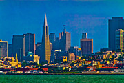 Skyline Glass Art Posters - Colorful City By The Bay Poster by Mitch Shindelbower