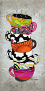 Sun Studios Prints - Colorful Coffee Cups Mugs Hot Cuppa Stacked I by Romi and Megan Print by Megan and Romi