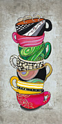 Kitchen Art - Colorful Coffee Cups Mugs Hot Cuppa Stacked II by Romi and Megan by Megan and Romi
