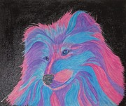 Quad Mixed Media Prints - Colorful Collie Water Color Pencil Print by Margaret Newcomb