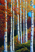 Aspen Tree Paintings - Colorful Colordo Aspens by Jennifer Morrison Godshalk