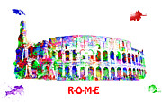 Building Exterior Mixed Media - Colorful Colosseum by Saurabh and Geetanjali Nande