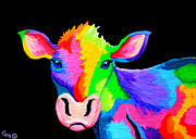 Whimsical Art Painting Prints - Colorful Cow-Cow-A-Bunga Print by Nick Gustafson