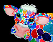 Cows Drawings Posters - Colorful Cow Poster by Nick Gustafson