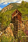Mill On A Cliff Framed Prints - Colorful Crystal Mill Framed Print by Adam Jewell