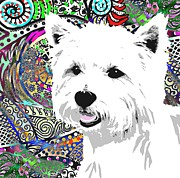 Westie Digital Art - Colorful  by Cindy Edwards