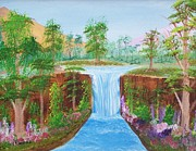 Waterfalls Paintings - Colorful Day by John Minarcik