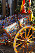 Carts Prints - Colorful decorated horse carriage Cefalu Palermo Sicily Italy Print by Stefano Senise
