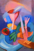 Dinner Paintings - Colorful Dinner by Lutz Baar