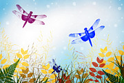 Flies Prints - Colorful Dragonflies Print by Christina Rollo
