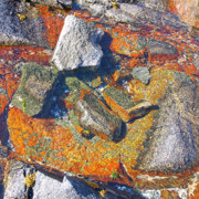 Cracked Stone Prints - Colorful Earth History Print by Heiko Koehrer-Wagner