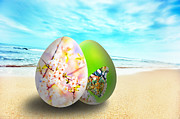 Element Art - Colorful easter eggs on sunny beach by Michal Bednarek