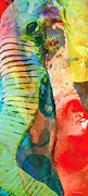 Tusk Mixed Media Prints - Colorful Elephant Art By Sharon Cummings Print by Sharon Cummings
