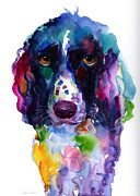 Spaniel Puppy Paintings - Colorful English Setter Spaniel dog portrait art by Svetlana Novikova