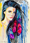 Print Mixed Media - Colorful Feathers by Slaveika Aladjova