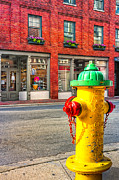 Red Bricks Prints - Colorful Fire Hydrant On The Streets of Asheville Print by Mark E Tisdale