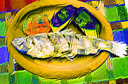 Fauna Mixed Media Metal Prints - Colorful Fish Metal Print by Rosi Lorz