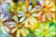 Photomanipulation Photo Prints - Colorful Floral abstract II Print by Debbie Portwood