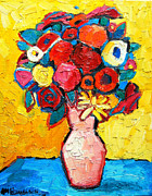 Interior Still Life Painting Metal Prints - Colorful Flowers Metal Print by Ana Maria Edulescu