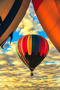 Wicker Basket Prints - Colorful Framed Hot Air Balloon Print by Robert Bales