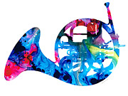 Sharon Cummings - Colorful French Horn 2 - Cool Colors Abstract Art Sharon Cummings