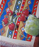 Strawberry Prints Framed Prints - Colorful Fruit Framed Print by Sharon Casavant