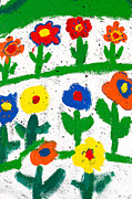 Gaspar Avila Art - Colorful garden by Gaspar Avila