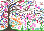 Pink Blossoms Drawings Posters - Colorful Garden Greeting Card Poster by Nina Kuriloff
