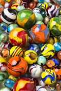 Toys Framed Prints - Colorful glass marbles Framed Print by Garry Gay