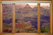 Gift Ideas Framed Prints - Colorful Grand Canyon Modern Wood Picture Window Frame View Framed Print by James Bo Insogna