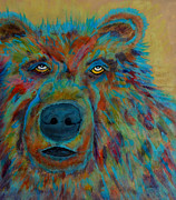 Bright Colors Pyrography Prints - Colorful Grizz Print by Mike Holder