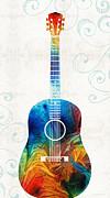 Sharon Cummings - Colorful Guitar Art by Sharon Cummings