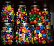 Mason Jars Posters - Colorful Gumballs Poster by Paul Ward