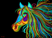 Mammals Drawings Prints - Colorful Horse Head 2 Print by Nick Gustafson