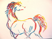 White Arab Pastels Prints - Colorful Horse Print by Holly Wright