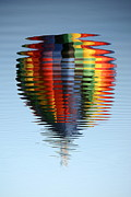Water Abstracts Prints - Colorful Hot Air Balloon Ripples Print by Carol Groenen