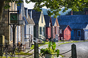 19th Century Architecture Prints - Colorful Houses in Mystic Seafaring Village Print by George Oze