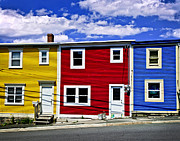 Red Buildings Prints - Colorful houses in St. Johns Newfoundland Print by Elena Elisseeva