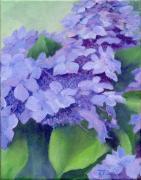 K Joann Russell - Colorful Hydrangeas Original Purple Floral Art Painting Garden Flower Floral Artist K. Joann Russell