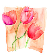 Textured Floral Painting Framed Prints - Colorful illustration of red tulips flowers  Framed Print by Regina Jershova
