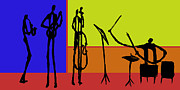 Drums Painting Prints - Colorful Jazz Quartet Print by Rhodes Rumsey
