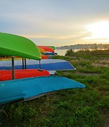 Most Viewed Digital Art Posters - Colorful Kayaks Poster by Anne Sterling