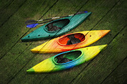 Suzi Nelson Prints - Colorful Kayaks Print by Suzi Nelson